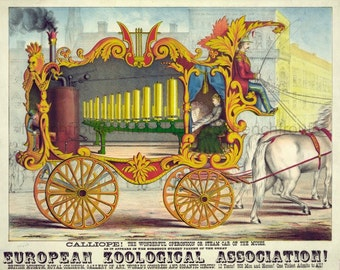 antique victorian circus poster greek muse steam calliope illustration digital download