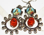 St Theresa Ring ROSARY with Howlite SKULL  EARRING