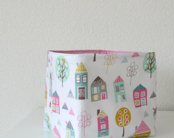 Reversible Fabric Basket - Little Houses and Trees in Pink, Green, Brown & Yellow