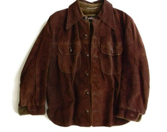 Mens Brown Leather Jacket Coat Winter Coat Heavyweight Leather Faux Fur Lined