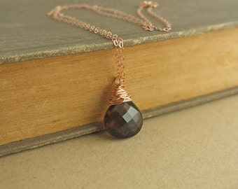Rose Gold Smoky Quartz Necklace, Smoky Quartz Necklace, Rose Gold Wrapped Necklace, Rose Gold