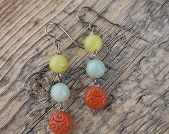 olive jade, amazonite, and vintage coral lucite earrings 18