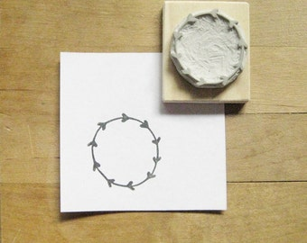 Leafy Wreath Hand Carved Rubber Stamp