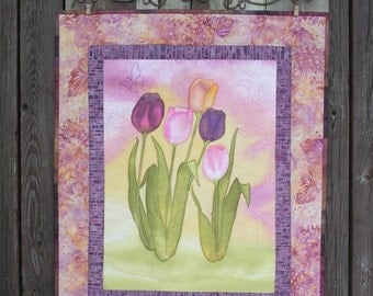 Art Quilt Hand Painted Tulips Wall Hanging Metal Hanger Quiltsy Handmade
