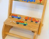 Child's Flip Stool Trucks Primary Colors Personalized