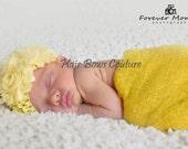 Yellow Baby Girl Flower Headband, Newborn Flower headband, Toddler Shabby Flower Headband, Newborn Pink Headband