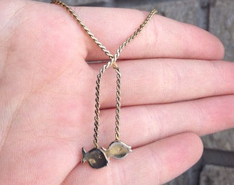 Little Fishies Vintage Necklace / Gold Snake Chain / Fish