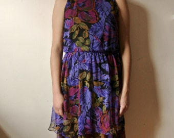 Vintage Purple Floral Print Dress Tiered Floral Tank Dress Size Medium Gifts For Her