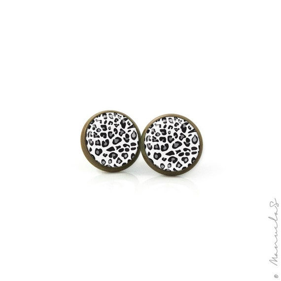 Cheetah Black and White Print - Antique bronze Post EARRINGS