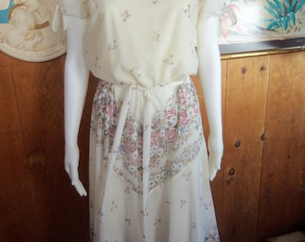 80s MONTGOMERY WARD--Ivory Floral Gauze Dress--Sleeve Ties--Belted