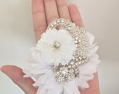 White Bridal Hair Piece with Crystal and Pearl Embellishments
