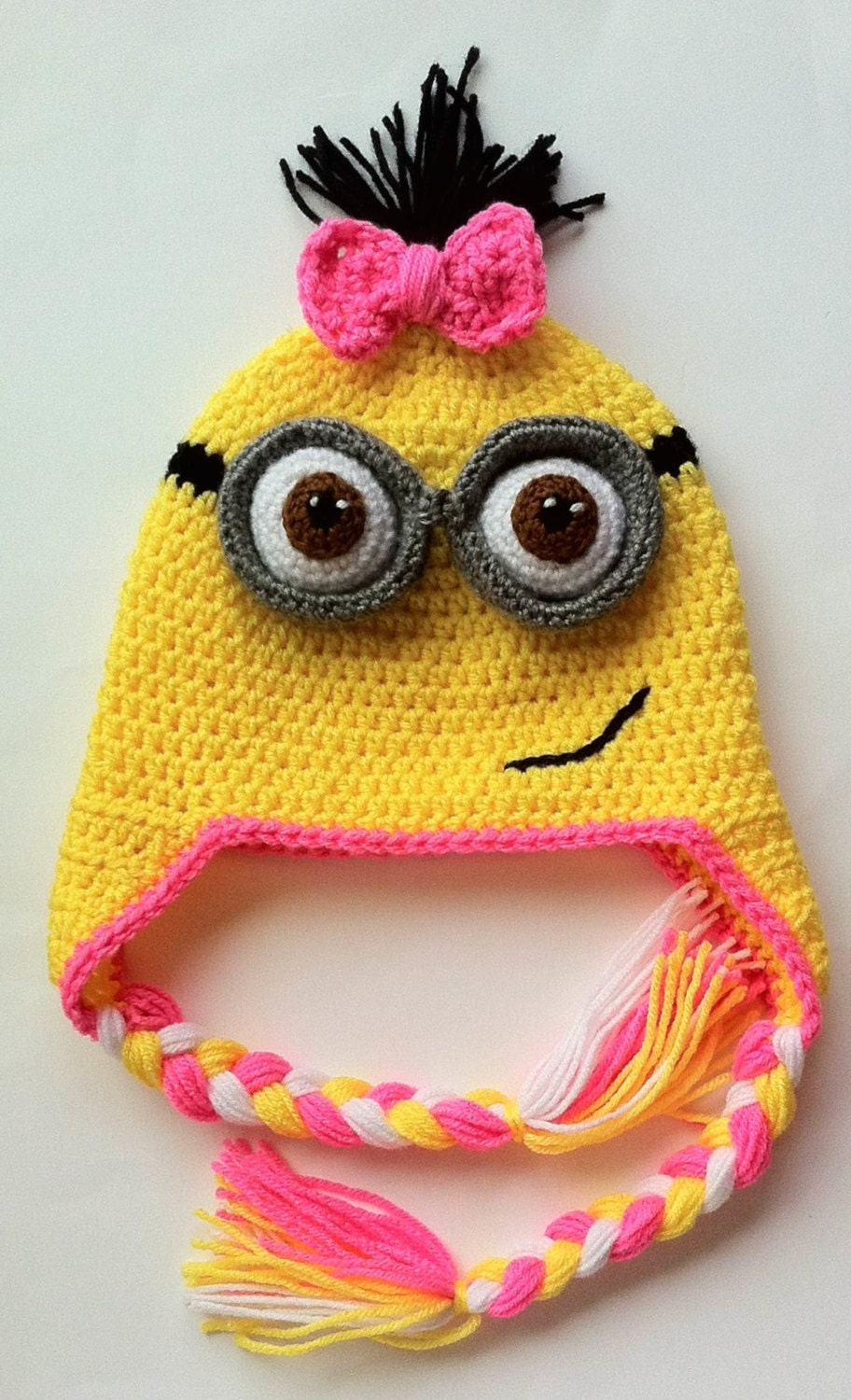 Free Crochet Pattern For Minion Hat With Ear Flaps : Despicable Me Girl Minion Inspired Hat Ear Flaps and Tassels