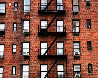 Red Brick Living in New York City Photography Print, NYC Building Wall Art