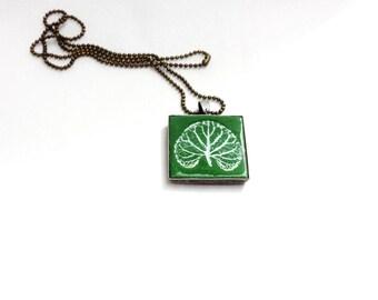 Leaf Pendant Necklace Botanical Olive Green