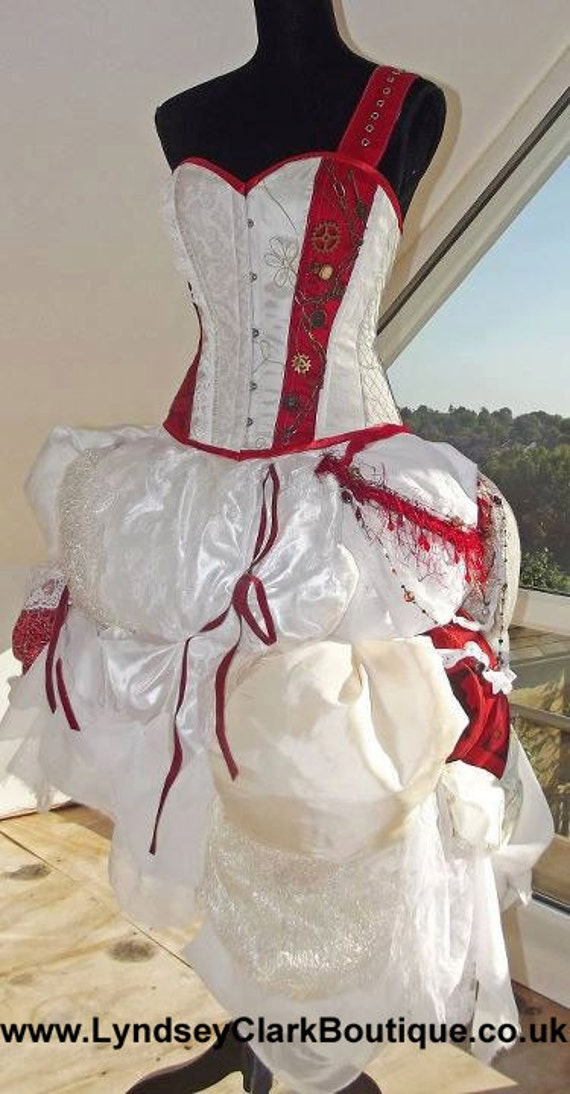 Steampunk corset bustle wedding dress prom various colour for Steampunk corset wedding dress