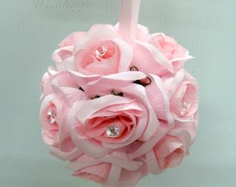 Wedding flower balls Pink pomander Flower girl kissing ball Wedding decorations