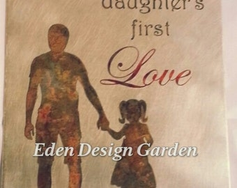 Etched metal father daughter LOVE sign