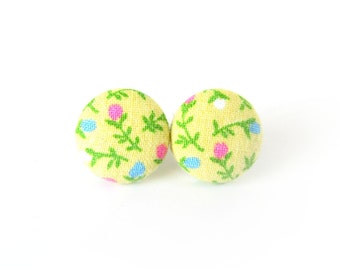 Yellow fabric earrings - bright floral button earrings - flower stud earrings - tiny blue pink green