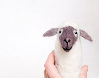 Barbara - Felt Sheep,Art Marionette. Puppet. Felted Stuffed Toy. Waldorf Style Sheep. lavender, grey, white, purple.  MADE TO ORDER.