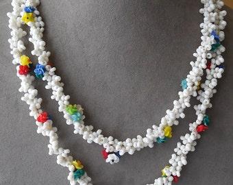 Czechoslovakia Colorful Glass Flower Bead Choker Necklace