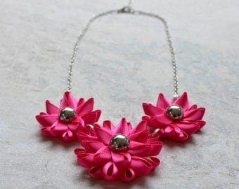 Hot Pink Necklace, Bright Pink Necklace, Fuschia Necklace, Hot Pink Statement Necklace, Hot Pink Wedding, Flower Statement Necklace