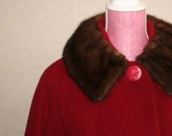 Red Wool Coat with Mink Collar in Perfect Condition was 125.00