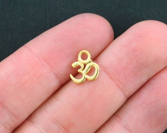 20 Small OM Charms Antique Gold Tone 2 Sided - GC293
