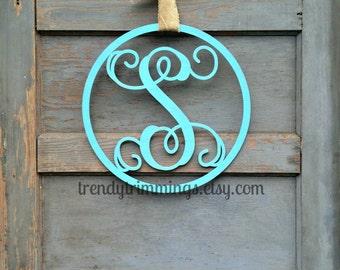 Wooden Monogram Letter with Circle Border- Interlocking Script Initial, Door Hanger Wreath- for your front door, home, nursery, or wedding