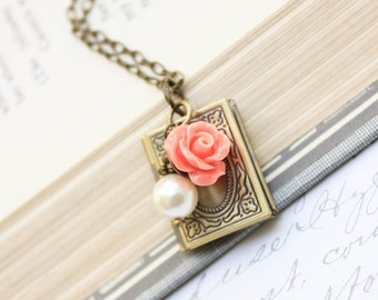 Book Locket Necklace Pendant Necklace Peach Coral Rose Charm Pearl Charm Necklace Secret Hiding Place Photo Locket Long Necklace Gold Brass