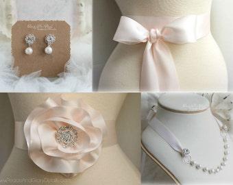 Pearl Rhinestone Earrings - Blush Pink - Pale Pink -  Sterling Silver - Bridal Bridesmaids Crystal Earrings- Jewelry Gifts
