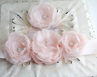 Vintage Style Soft Pink Floral Sash set with Matching Hairpin - Three piece set
