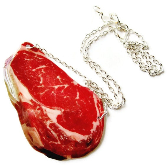 Steak Necklace Red Meat BBQ Food Jewelry Raw Meat Gag Gift Red Halloween Costume Vegan Statement