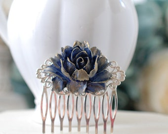 Bridal Hair Comb, Gold Navy Dark Blue Rose Silver Hair Comb, Floral Hair Accessory, Vintage Style Victorian Blue Wedding Filigree Hair Comb