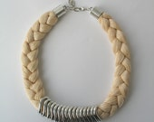 Champagne statement necklace - rope necklace - braided necklace  E111