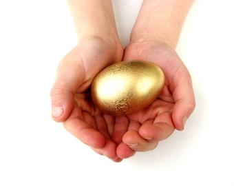 GOLDEN Wooden Egg, LARGE SIZE Waldorf Toy Hen Egg for Easter