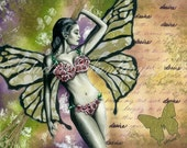 Bikini Fairy with Butterfly, Fantasy Art Mixed Media/Collage Giclee Print, Matted to 16 x 20, Fairy Art Print