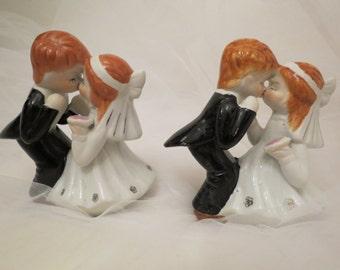 Vintage Porcelain Kissing Bride and Groom Wedding Cake Topper