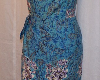 Vintage 1950s inspired turquoise blue gold Shaheen fabric Hawaiian sarong halter wiggle dress M L VLV rockabilly Viva