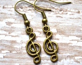 Antiqued Brass Treble Clefs . Earrings . Music Notes Collection
