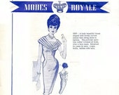 Modes Royale Sheath Dress Pattern and Sew In Label , 1883 Pattern, Curved Seams, Portrait Neckline, Bust 34 Vintage Sewing Pattern