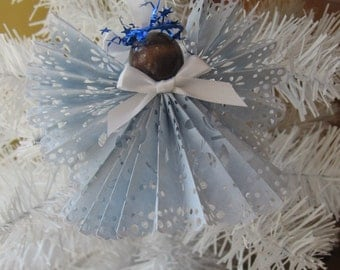 Pastel Blue Holiday Angel, Tree Ornament, Angel Ornament, Secret Santa, Angel Collector, Paper Angel  SnowNoseCrafts