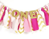 Pink & Gold Birthday Highchair Banner - Girl's Birthday Party - Princess Birthday - SPARKLE - Rag Banner - Photography Prop