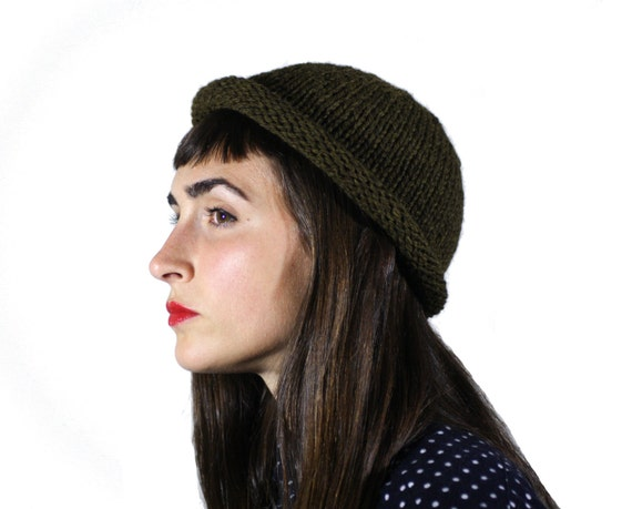 Olive Green Rolled Brim Beanie, hand knit with 100% wool, fisherman beanie, westlake knit hat