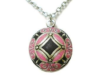 Black And Pink Mandala Necklace Pendant Pink And Black Mandala Jewelry