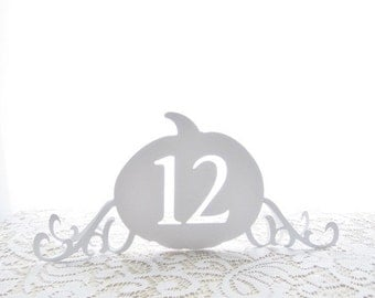 Enchanting Freestanding Pumpkin Table Numbers - Choose Your Colors - Cinderella Wedding