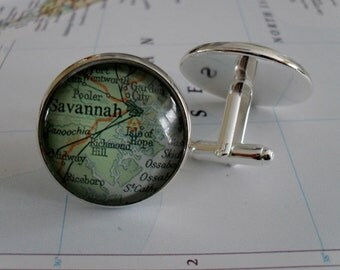 SAVANNAH Map CUFF LINKS // Georgia cufflinks / Map Cufflinks / Personalized Gift / Groomsmen Gift / Anniversary / gift for him / Gift Boxed