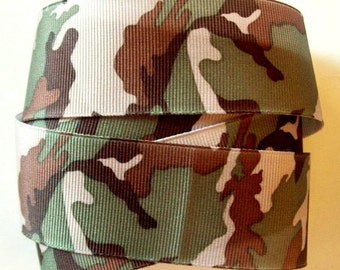 Wide Military Camouflage Ribbon or Trim,  2 YARDS, 1.5  inches wide - Military Grosgrain Ribbon ~ Camo Ribbon