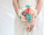 Coral aqua  wedding bouquet,  bridal bouquet, fabric flowers bouuqet DEPOSIT