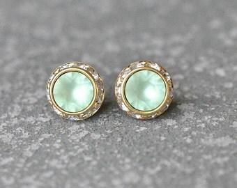 Mint Green Stud Earrings Swarovski Crystal Frosted Mint Green Rhienstone Post Earrings Mashugana