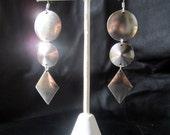 Geometric earrings, modern silver tone dangle earrings, trendy, lightweight, geo jewelry, sterling silver ear wires available